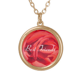 best friends forever red rose necklace