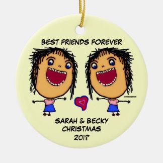 Best Friends Forever Round Ceramic Decoration