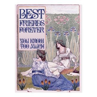 Best Friends Forever Vintage Art Postcard