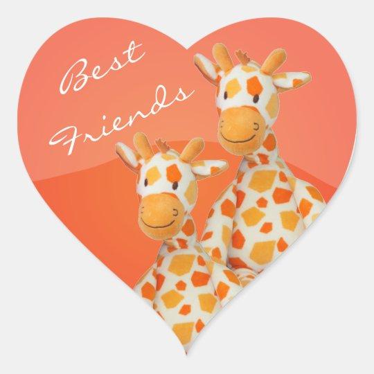 Best Friends Giraffes Heart Sticker