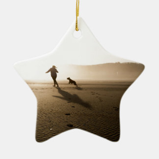 Best Friends Girl and Dog on Beach Christmas Ornament