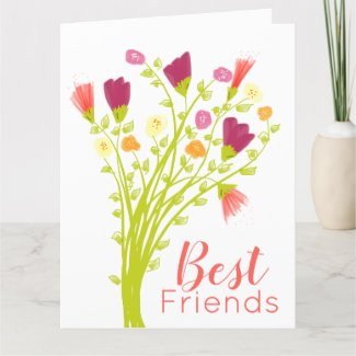 Best Friends Happy Birthday Flowered Card