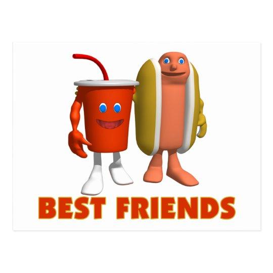 Best Friends Hot Dog & Soda Postcard