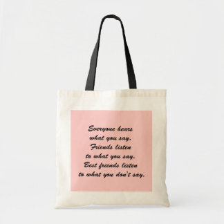 Best friends listen tote bag