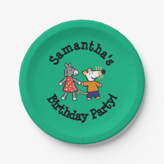 Best Friends Maisy and Dotty Hold Hands 7 Inch Paper Plate