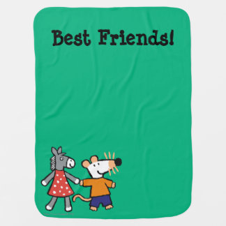 Best Friends Maisy and Dotty Hold Hands Baby Blanket