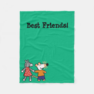 Best Friends Maisy and Dotty Hold Hands Fleece Blanket