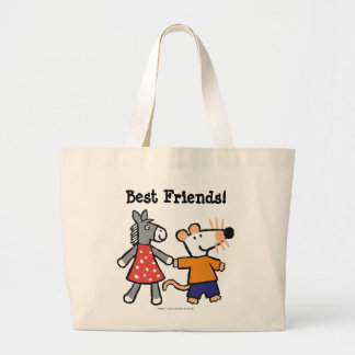 Best Friends Maisy and Dotty Hold Hands Large Tote Bag