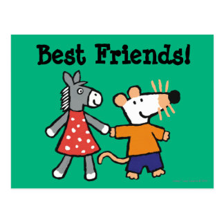 Best Friends Maisy and Dotty Hold Hands Postcard