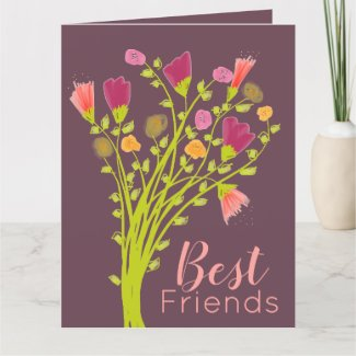 Best Friends Plum Happy Birthday Flowered Card
