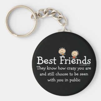 Best Friends Saying (Black) Basic Round Button Key Ring