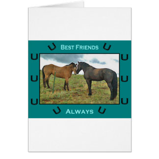 Best Friends sentiment with Horses Greeting Card