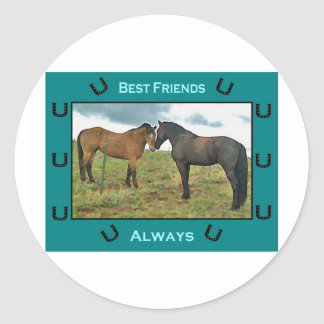 Best Friends sentiment with Horses Classic Round Sticker