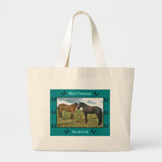 Best Friends sentiment with Horses Tote Bags