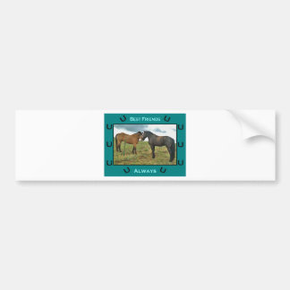 Best Friends sentiment with Two Horses Bumper Sticker