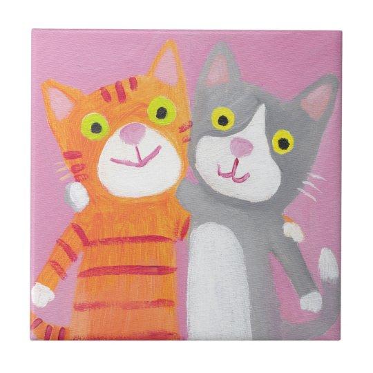 best friends, sisters,cats tile