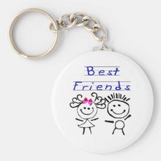 Best friends stick figure basic round button key ring