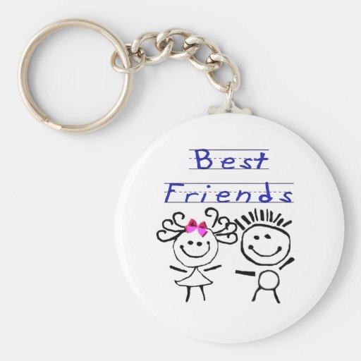 Best friends stick figure key chains