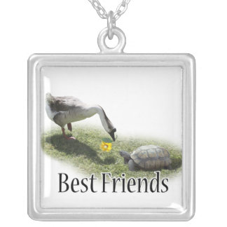 Best Friends - The Turtle & The Goose Square Pendant Necklace