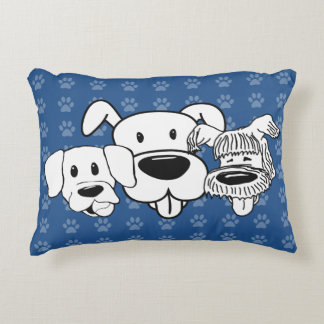 Best Friends Three Dogs Pawprints Blue Any Color Decorative Cushion