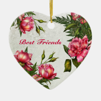Best Friends - Victorian Roses Heart Ornament