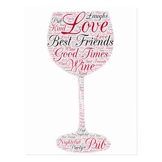 Best friends Wine Design Postcard
