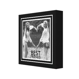 BEST Friends with Cute Black and White Photo Frame Canvas Prints