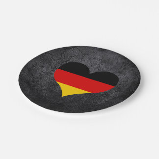 Best German Heart flag 7 Inch Paper Plate