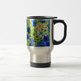 Best gift blue abstract art for mother's day travel mug