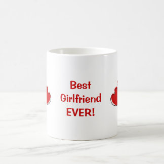 Best Girlfriend Ever! Red Sketchy Hearts Mug