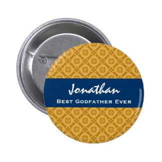 Best GODFATHER Gold and Navy Custom Gift Idea 6 Cm Round Badge