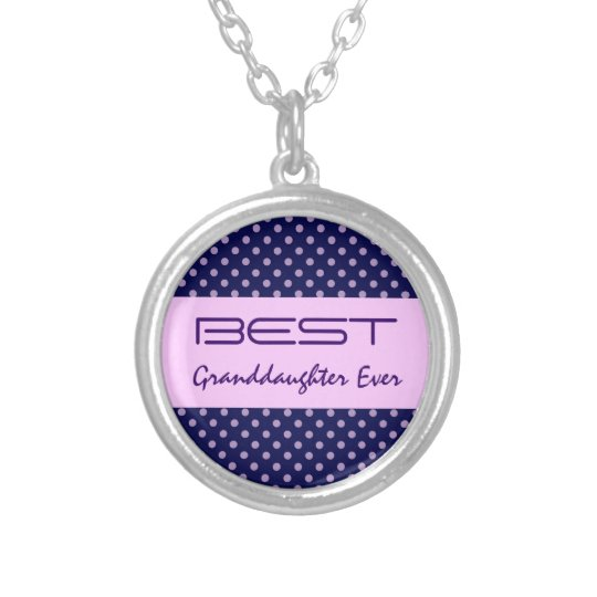Best GranddaughterEver Purple Polka Dots V30 Silver Plated Necklace