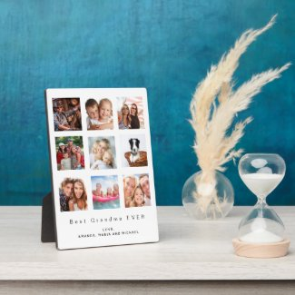 Best Grandma custom family photo collage white Plaque