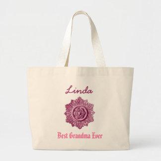 Best Grandma Ever Custom Name Pink Large Tote Bag