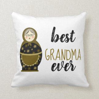 Best Grandma Ever Golden Matryoshka Russian Doll Cushion