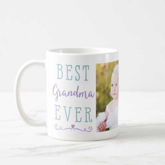 Best Grandma Ever Purple Teal Custom Photo Coffee