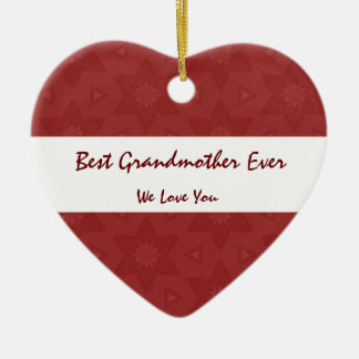 Best Grandmother Ever Love You Red Flower Stars Ceramic Heart Decoration
