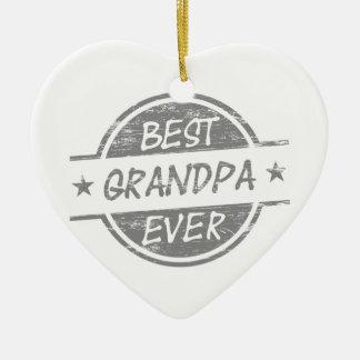 Best Grandpa Ever Gray Ceramic Heart Decoration