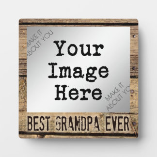 Best Grandpa Ever in Rustic Wood-Framed Photo Plaque
