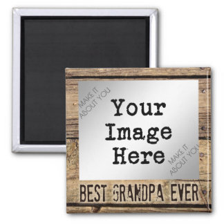 Best Grandpa Ever in Rustic Wood-Framed Photo Square Magnet