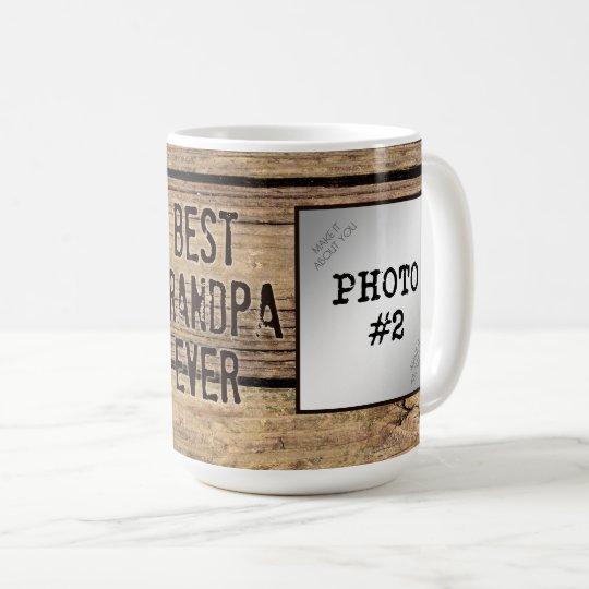 Best Grandpa Ever in Rustic Wood-Framed Photos Coffee