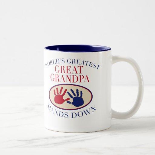 Best Great Grandpa Hands Down Two-Tone Mug