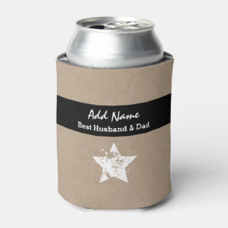 Best Husband and Dad Modern Tan Black Ribbon A03 Can Cooler