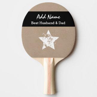 Best Husband and Dad Modern Tan Black Ribbon A03 Ping Pong Paddle