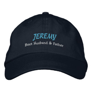 BEST HUSBAND and FATHER Navy Blue Hat C03 Embroidered Baseball Cap