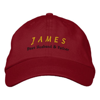 BEST HUSBAND and FATHER Red Hat Gold Name C05 Embroidered Baseball Cap