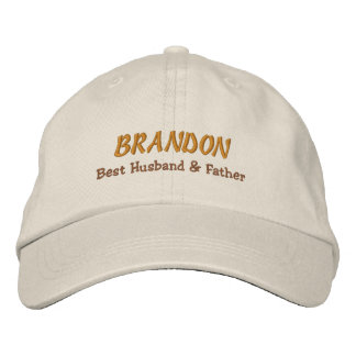 BEST HUSBAND and FATHER Stone Hat Gold Name C06 Baseball Cap