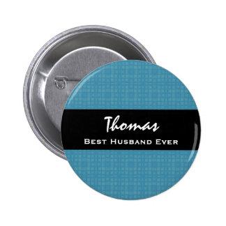 Best Husband Ever Blue and Black Custom Name 6 Cm Round Badge