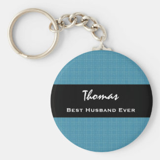Best Husband Ever Blue and Black Custom Name Basic Round Button Key Ring