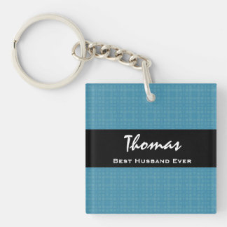 Best Husband Ever Blue and Black Custom Name Double-Sided Square Acrylic Key Ring